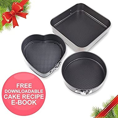 Springform Pan Baking Pans - Set of 3 Pcs Non-Stick Leakproof Cake Pans - Carbon Coated Steel Cheesecake Pan with Removable Bottom and Quick-Release with 10  Square 10  Round 9  Heart Shaped Cake Pan