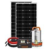 DCHOUSE - Kit de bomba agua solar de 12V 100 W, panel solar de 100 W, bomba de agua de 12 V, Controlador LCD 20 A, 1 par de cables solares para riego remoto, jardín, riego agrícola, llenado de tanques