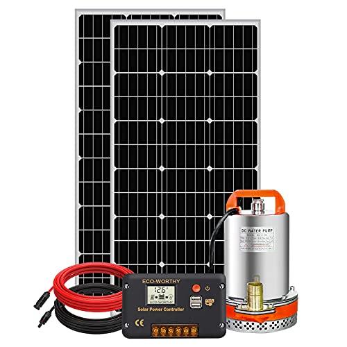 DCHOUSE - Kit de bomba agua solar de 12V 100 W, panel solar de 100 W, bomba de agua de 12 V, Controlador LCD 20 A, 1 par de cables solares para riego remoto, jardín