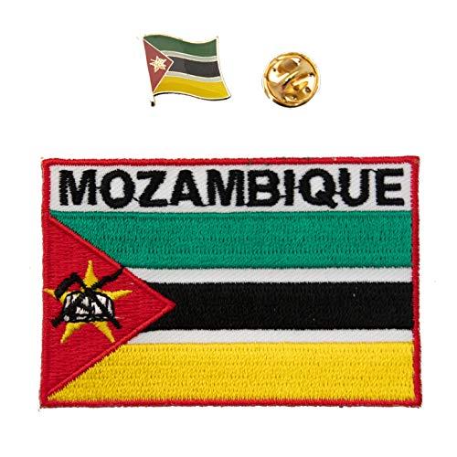 A-ONE Aufnäher mit Mosambik-Flagge, bestickt, mit afrikanischem Länderemblem, Anstecknadel aus Metall, 2 Stück