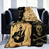 MJKII Throw Blanket, Pirate Ship Sea Ocean Pattern Flannel Blanket for Kids Daughter Son Baby - Super Soft, Warm, Plush, Lightweight, All Season - Perfect for Bed, Sofa(50'' x40)