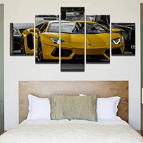 VYQDTNR HD de 5 Piezas con Múltiples Paneles Yellow Lamborghin Aventador Póster con Imagen Impresión en Lienzo Decoración Moderna para el Hogar y la Cocina Arte de la Pared, Enmarcado