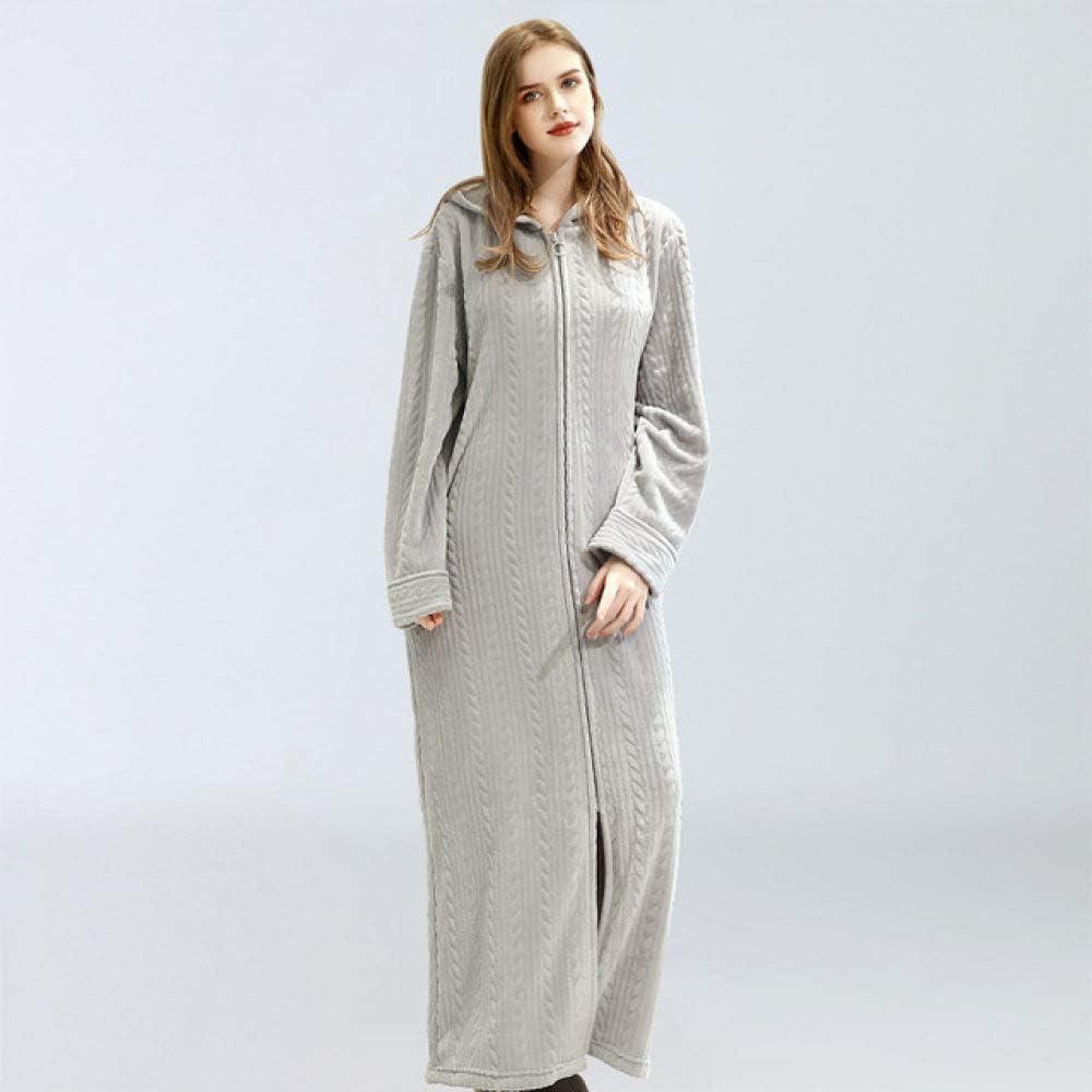SDCVRE Bathrobe,Flannel Bath Robe Wheat Stripe Unisex Hooded Bathrobe Winter Thicken Plus Size Lovers Couples Night Gown Men Zipper Nightgown,Gray,M(40,60KG)