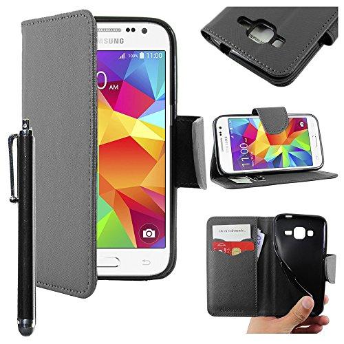 ebestStar - Cover Compatibile con Samsung Galaxy Core Prime SM-G360F, 4G SM-G361F VE Custodia Portafoglio Pelle PU Protezione Libro Flip + Penna, Nero [Apparecchio: 130.8 x 67.9 x 8.8mm, 4.5'']