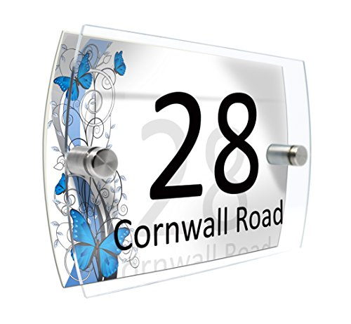 Personalised House Number Sign Printed Plaque Garden Glass Effect Acrylic Sign Door Plate Marble Wall Display 2 Part Acrylic (Branches and butterflies)