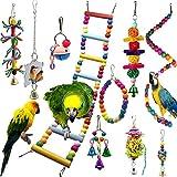 Coloré Jouets pour Oiseaux 10 Pièces avec Jouets à mâcher et Balançoires de Perché pour Cage à Oiseaux - Idéal décoration de Volière et Jouets à Cloches pour Perroquets, Perruches, Petite Aras