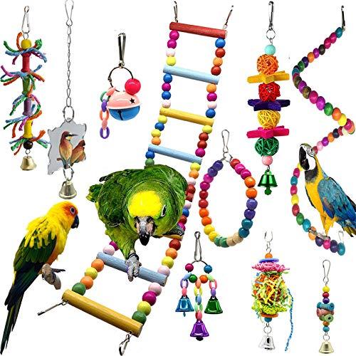 Colorido Juguetes de Loro Pájaros 10 Piezas con Juguete de Masticación y Columpios de Perchas Usado para Jaula de Aves - Decoracion de Pajarera y Campana Colgante Hamaca para Periquitos, Cockatiels