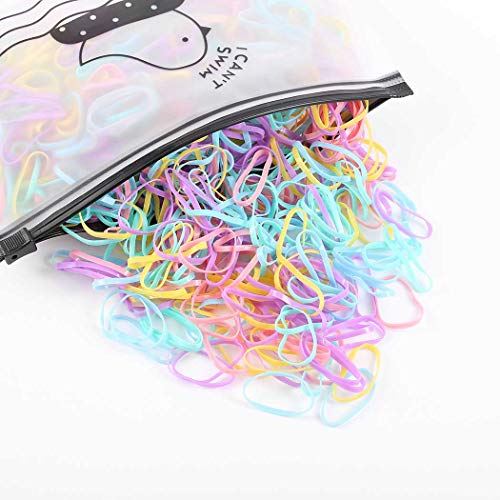 Tgirls Daily Hair Ties Colourful Hair Elastic Small Size Ponytail Holder Kids Rubber Bands for Women and Girls 1000Pcs (Colourful)