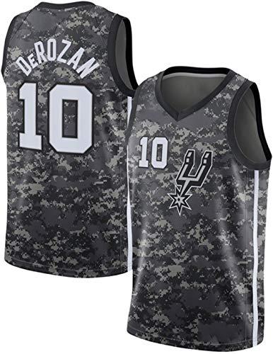 ATI-HSKJ NBA Basketball Jerseys, San Antonio Spurs Demar DeRozan 10# Trikots Herren-Basketball-Kleidung Cool Atmungsaktiv Swingman Weste Top Kleidung,XL(180~185cm/85~95kg)