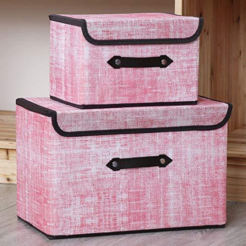 AINH Multipropósito Apilable Cajas Organizadoras para Ropa De Juguete,2pcs Portátil Bolsa De Almacenamiento,Plegable No-Tejido Caja De Almacenaje con Tapa De Asas-Rosa a 2pcs