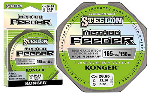 Konger Steelon Method Feeder - Filo da pesca monofilo rivestito in fluorocarbonio, 150 m, 0,18 - 0,30 mm