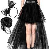 Conjunto de Accesorios de Disfraz de los Años 1980, Diadema de Lazo Negro Falda de Encaje Pretina de Mujeres (Estilo B)