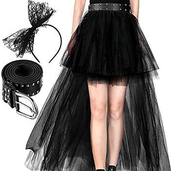 80 s Costume Accessories Set Women Black Bowknot Headband Lace Skirt Waistband  Style B