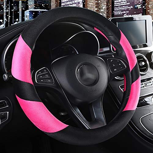 Couverture De Volant De Voiture Chaud Doux Peluche Enjoliveur De Roue Respirant Confortable Four Seasons Universal -37-39Cm,Pink