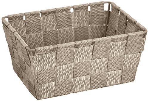 WENKO 21350100 Aufbewahrungskorb Adria Mini Taupe - Badkorb, rechteckig, Kunststoff-Geflecht, Polypropylen, 19 x 9 x 14 cm