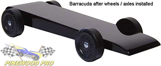 Pinewood Pro Pine Derby Car Kit with PRO Graphite - Painted and Weighted - Black Barracuda