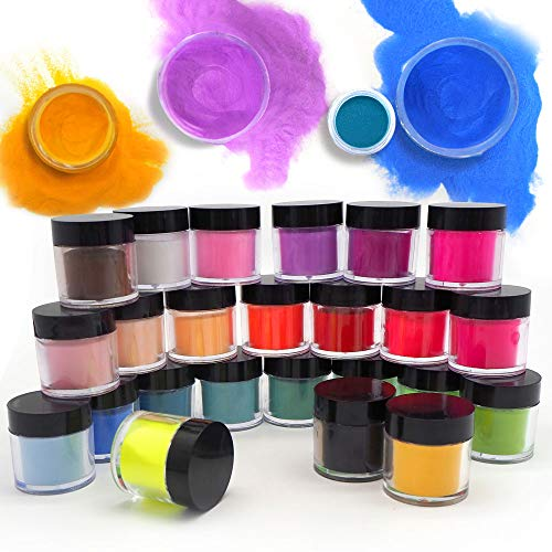 24 Colors Acrylic Powder for Nails, Colored Nail Acrylic Powder Sets Art Tips UV Gel Acrylic Nail Powder Decoration 3D Manicure, DIY Acrylic Nails Art