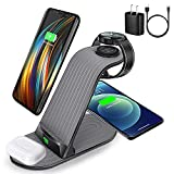4 in 1 Wireless Charger Station,15W Wireless Charging Stand for Samsung Galaxy Phone/Watch/Bud, fit for S20/S21/Note 20/S10/S9, Galaxy Watch 4/3/2/Active/Gear S3, Qi Enable Phone with 18W QC Adapter