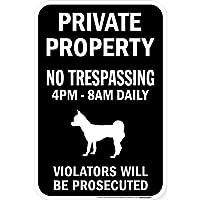 PRIVATE PROPERTY ブラックマグネットサイン:スムースチワワ シルエット 英語 私有地 無断立入禁止