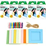 Fujifilm instax Square Instant Film + Hanging Photo Frames for Square Film Assorted Colors – Deluxe Accessory Bundle (100 Exposures)