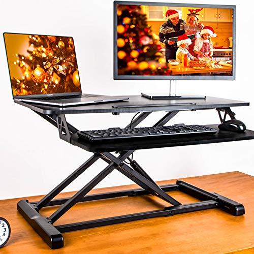 メティヤ スタンディングデスク 高さ調整可能 昇降式デスク オフィスワークテーブル 折りたたみ無段階座位立位両用 机上デスク キーボード付き 多機能テーブル 80 x 40cm(黑)