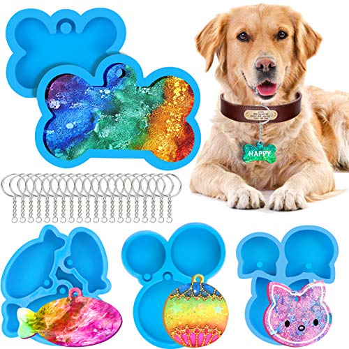 5 Pcs Dog Bone Shaped Tag Resin Mold, Cat Tag and Fish Keychain Silicone Mold, Round Pendant Epoxy Casting Mould with 20 Pieces Key Rings for DIY Crafts Jewelry Making Supplies