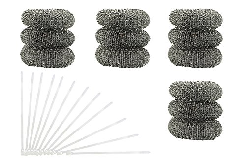 12 Pack of Washing Machine Lint Traps. Comes with 12 Ties. Attach to Your Washer Sink Hose and Allow the Metal Mesh Trap to Filter the Laundry Water. Stainless Steel and Rust Proof.
