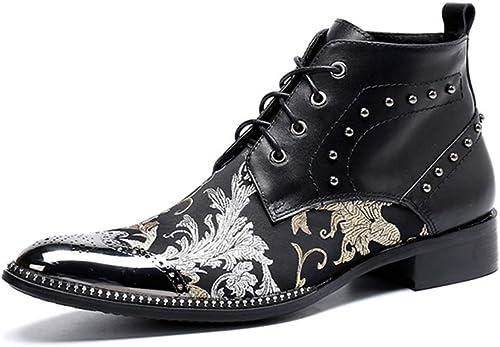 Rui Landed Bota del Tobillo de la Moda de los hombres Metálico Puntiagudo Remache del Dedo del pie decoración con Cordones de impresión de Flores zapatos Formales Discoteca