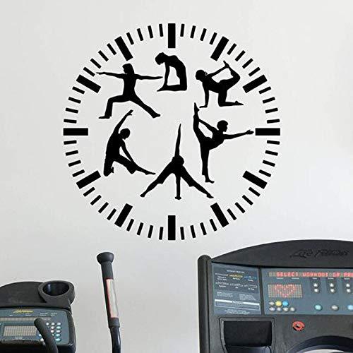 Reloj de fitness calcomanías de pared gimnasio sala de yoga sala de estar dormitorio de niña decoración de interiores puerta ventana vinilo pegatina deportes papel tapiz