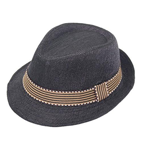 Vertvie Unisex Enfant Chapeau de Soleil Panama Feroda Classique avec Ruban Style Simple Taille Unique:52cm (Noir)