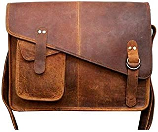 TUZECH Buffalo Hunter Leather Bag Laptop Messenger/College Bag Men and Women Fits Laptop Up to (13 Inches)