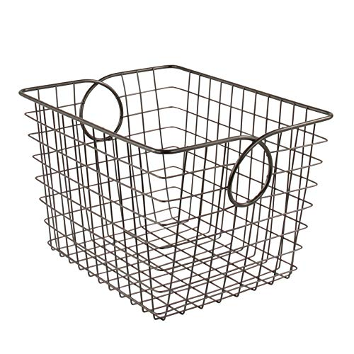 Spectrum Diversified Teardrop Small Wire Basket, Steel Versatile Storage & Organization Utility Tote, Cube Storage Bin for Home Organization, Industrial Gray