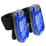 DINOWIN Luz de Seguridad de Bicicleta LED Super Brillante Luz de Cola de Bicicleta portátil 3 Modos de Flash, Luces Brillantes para Exterior, cochecitos, Scooter, Bicicleta(Paquete de 2) (Azul)