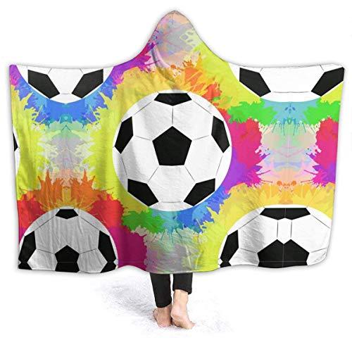 AEMAPE Watercolour Rainbow Soccer Balls Manta con Capucha para Hombre Manta de Franela súper Suave Sudadera con Capucha Usable, Bata con Capucha Capa con Capucha para Ver películas 50x40in