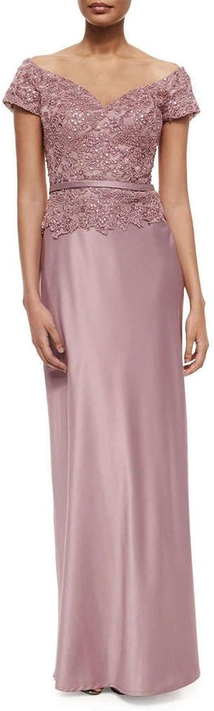 Avril Dress Off Shoulder Short Sleeve Lace Mother of Bride Evening Dress Long