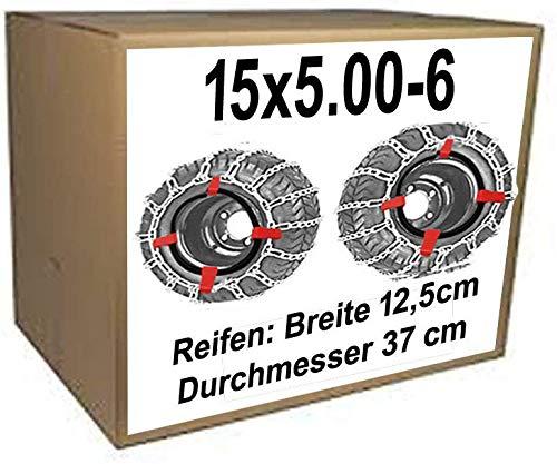 15x5.00-6 Schneeketten + Spanner für Rasentraktor Aufsitzmäher Kinderquad Reifen Durchmesser = 37 cm Breite 12,5 cm
