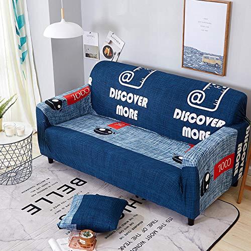 BSZHCT Funda elástica para sofá impresión Floral Poliéster Spandex con Cuerda de Fijación Antideslizante Lavable Antiácaros Funda de sofá Azul 1 Piezas: 90-140cm
