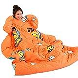 Dzannc 新型袖あり寝具 寝袋 布団カバー なまけカバー 防寒カバー 子供用布団 暖かいカバー (オレンジ)