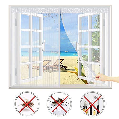 CHENG Fenêtre Rideau magnétique pour Portes 155x230cm, Rideau Moustiquaire à Aimantée, Automatiquement fermé Pliable Anti Insecte Mouche Moustique, Empêche de Passer Les Moustiques - Blanc