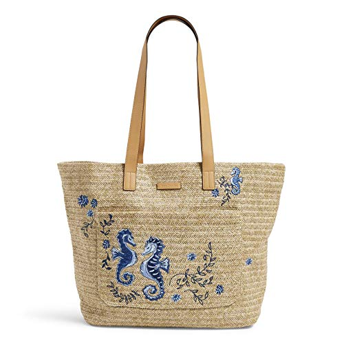 Vera Bradley Women's Front Pocket Straw Tote Bag, Natural Sea Life