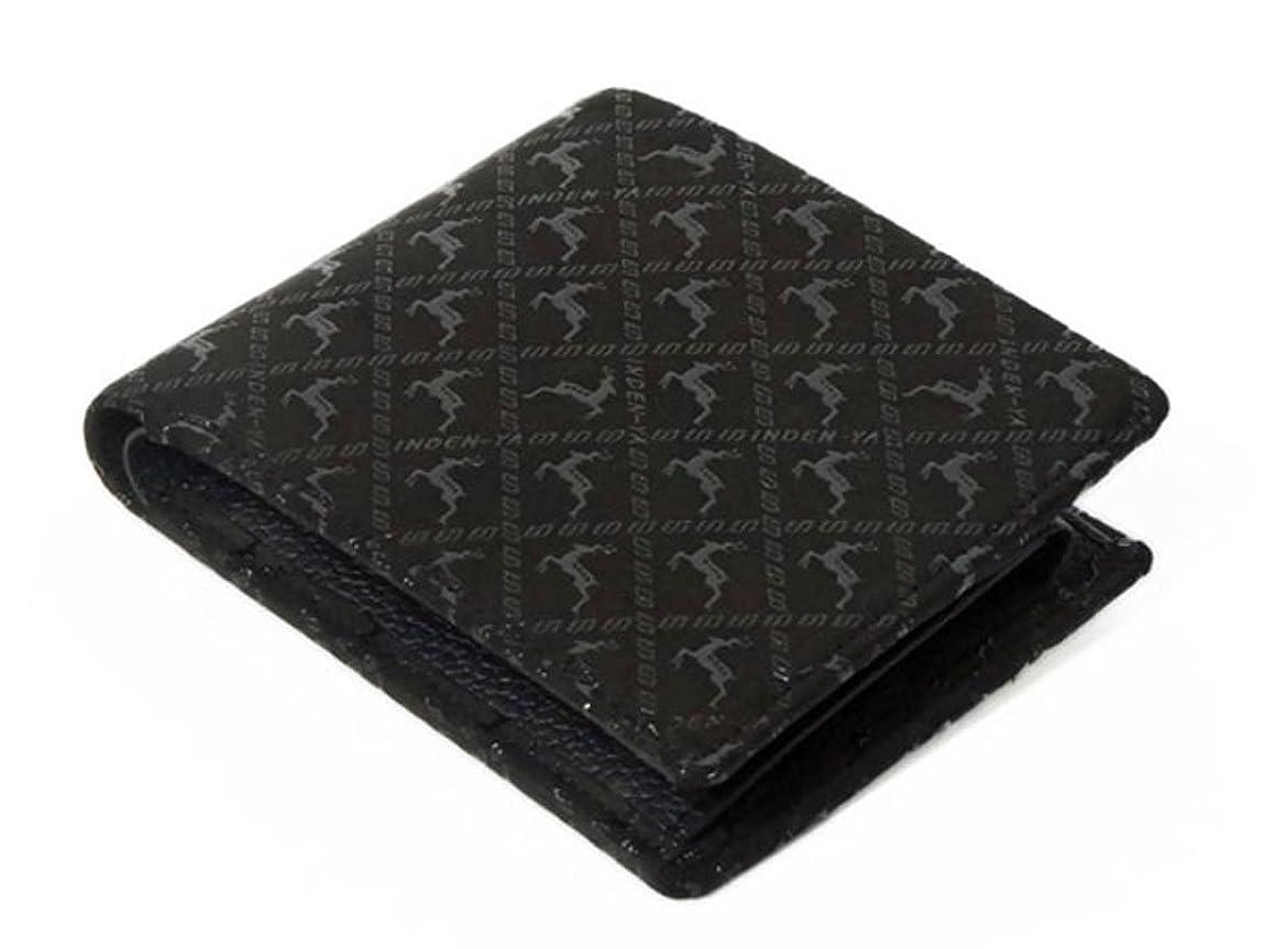 コンペが欲しい隔離する印傳屋 印伝 二つ折り財布 [2006 黒×黒 ディアー]