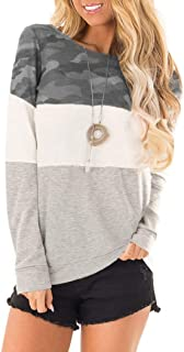 Women's Color Block Long Sleeve Tunic Tops Shirts Leopard Camo Pullover Sweatshirt with Pockets