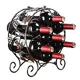 Feixunfan Botellero para 7 botellas de vino, soporte de metal para encimera de mesa, soporte de almacenamiento de vino, soporte negro para bodega sótano (color: bronce, tamaño: 7 botellas)