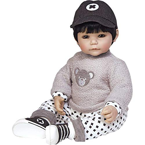 Adora ToddlerTime Bubba Bear Boy Doll with appliquéd Sweater, Patterned Pants and Black Sneakers