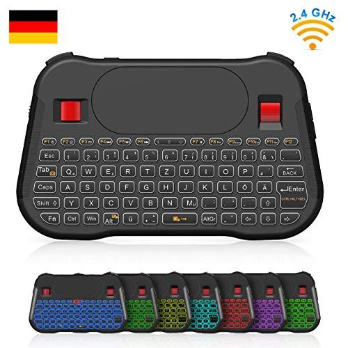 SZILBZ Mini Tastatur Wireless mit Touchpad und Mausrad 2.4 GHz Smart TV Fernbedienung mit 7 Hintergrundbeleuchtung, für Android TV Box, dem Projektor, IPTV, HTPC, PC, Laptop usw. (Deutsches Layout)