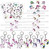 Konsait Licorne bagues Bracelets Trousseau Porte-clés | Tatouages temporaires de Licornes Enfant Anniversaire Petit Cadeau Pinata| Jouets Fantaisie et école récompenses (34pack)