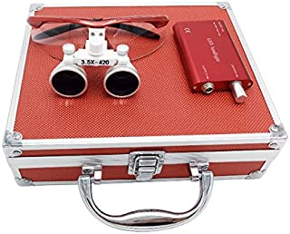 WorKing 3.5x 420mm Working Distance Surgical Binocular Loupes Optical Glass with LED Head Light Lamp+Aluminum Box Red