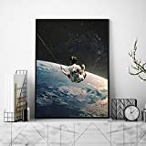 None brand Impresiones Earth Night Sky Art Canvas Posters Surrealism Galaxy Space Moon Canvas Painting Swing Cosmic Wall Pictures Sci-Fi Decor-50x75cm Sin Marco