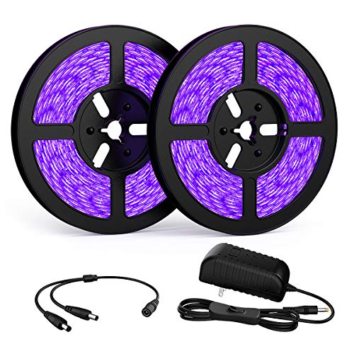 Onforu 32.8ft LED UV Black Light Strip Kit, 600 Units UV Lamp Beads, 12V Flexible Blacklight Fixtures, 10m LED Ribbon, Non-Waterproof for Indoor Fluorescent Dance Party, Stage Lighting, Body Paint
