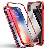 iPhone ケース ZHIKE 強化ガラスケース 磁気吸着な装着 360°金属フ レーム ワイヤレス充電対応 (iPhoneX/XS ケース, レッド透明)